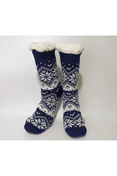 Kadın Lacivert Kışlık Peluş Ev Çorabı