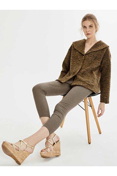 Kadın Kahverengi Normal Bel Pamuklu Skinny Fit Pantolon