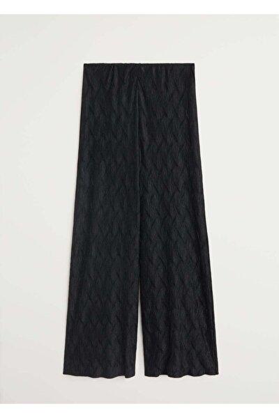 Kadın Siyah Pilili Palazo Pantolon 67030606