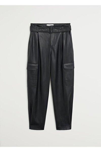 Kadın Siyah Cepli Kargo Pantolon 67024417