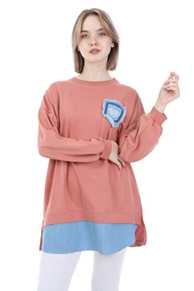 Kadın Pudra Kot Garnili Sweatshirt