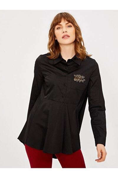 Kadın Siyah Taş Detaylı Pamuk Gömlek