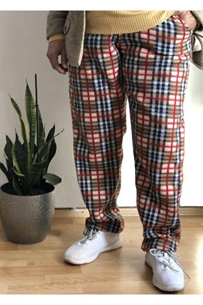 Kadın Kahverengi Polar Desenli Pijama Altı