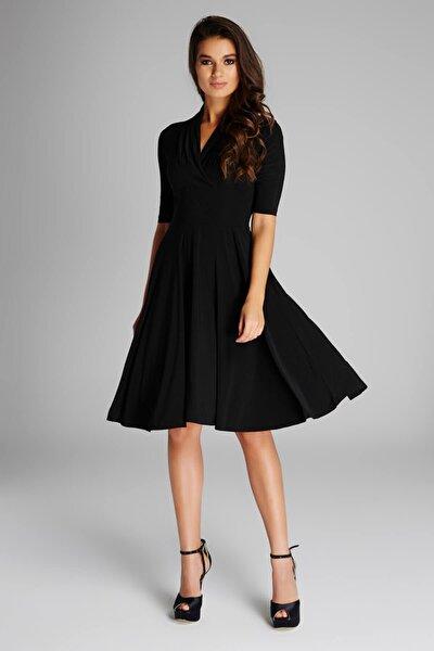 Kadın Siyah Yaka Detaylı Elbise