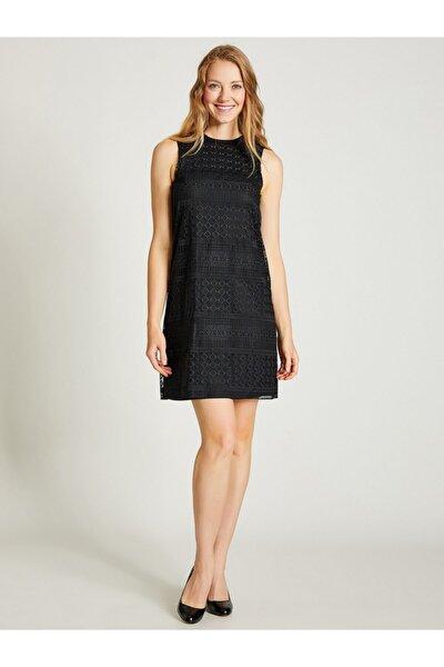 Kadın Siyah Kolsuz Dantel Elbise 9109-0137