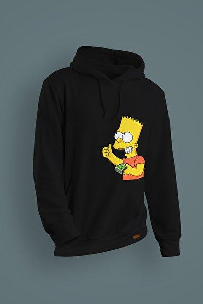 Erkek Siyah Rich Simpson Baskılı Kapüşonlu Sweatshirt