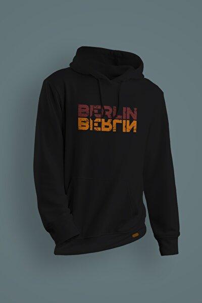 Unisex Siyah Berlin Baskılı Kapüşonlu Sweatshirt