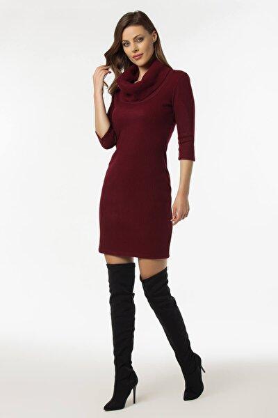 Kadın Bordo Yaka Detaylı Kaşkorse Elbise