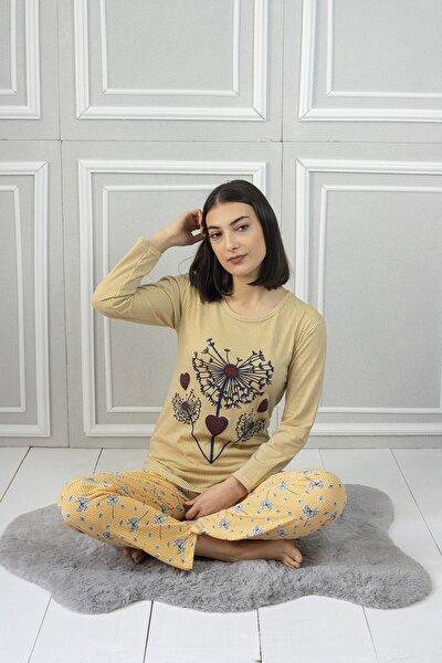 Kadın 5214 Sarı Çiçek Desenli Pijama Takımı