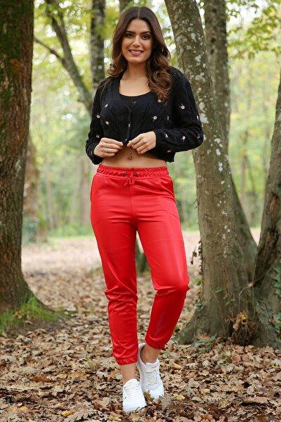 Kadın Kırmızı Beli Ve Paçası Lastikli Cep Detaylı Deri Görünümlü Kışlık Pantolon Nb7159