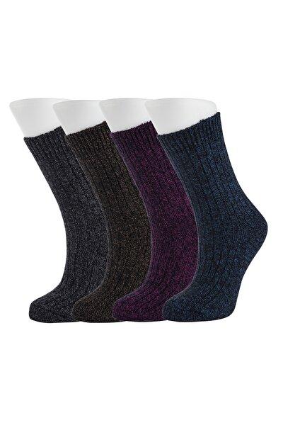 Kadın Renkli 4lü Yünlü Kışlık Soket Çorap
