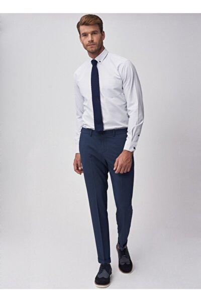Erkek Lacivert Slim Fit Beli Lastikli Pantolon