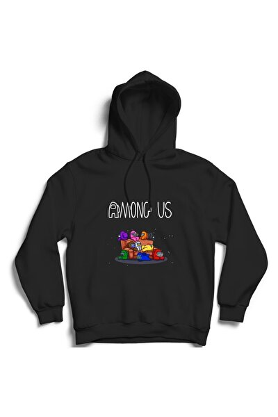 Siyah Among Us Oyun Kapşonlu Sweatshirt