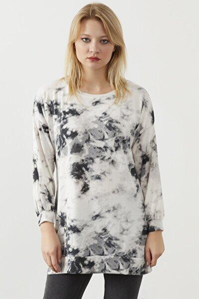 Kadın Beyaz Yıkama Kumaş Sweatshirt
