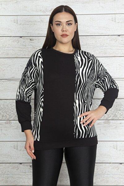 Kadın Siyah Zebra Garnili Bluz 65N20526