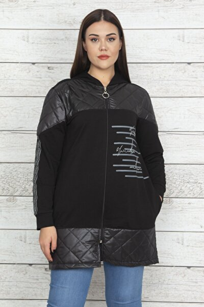 Kadın Siyah Kapüşonlu Ön Fermuarlı Sim Ve Taş Detaylı Cepli Sweatshirt 65N20390