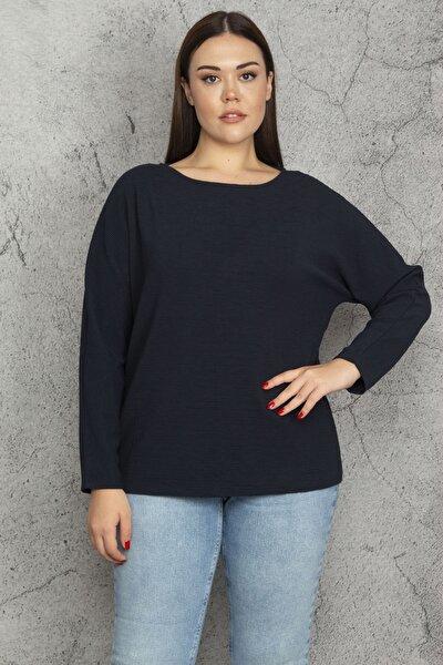 Kadın Lacivert Kendinden Çizgili Bluz 65N20612