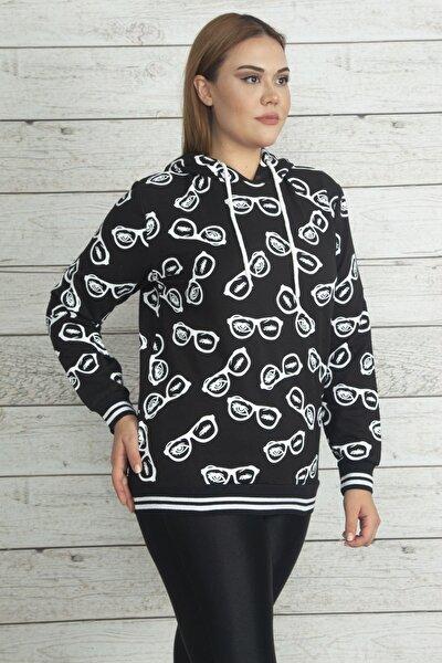 Kadın Siyah Kapüşonlu Etek Ucu Ve Kol Ağzı Simli Ribanalı Baskılı Sweatshirt 65N20361