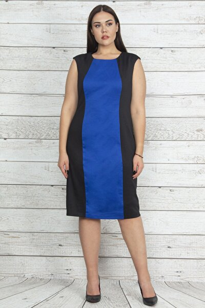 Kadın Saks Renk Kombinli Kup Detaylı Elbise 65N20235
