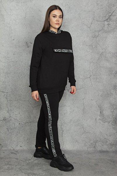 Kadın Siyah Taş Detaylı Kapüşonlu Sweatshirt Pantolon Takım 65N20582