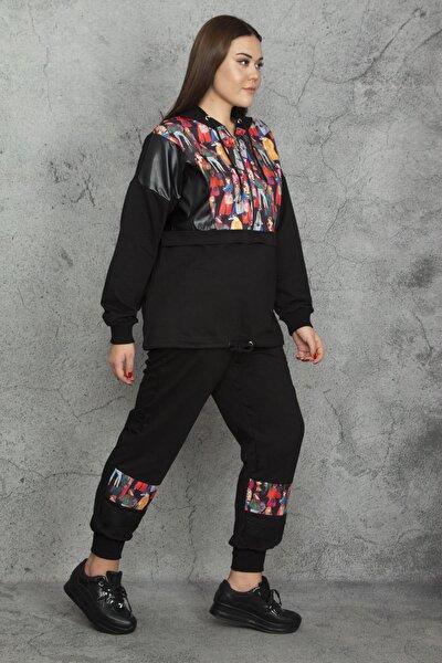Kadın Siyah Önü Yarım Fermuarlı Suni Deri Detaylı Kapüşonlu Sweatshirt Pantolon Takım 65N20580