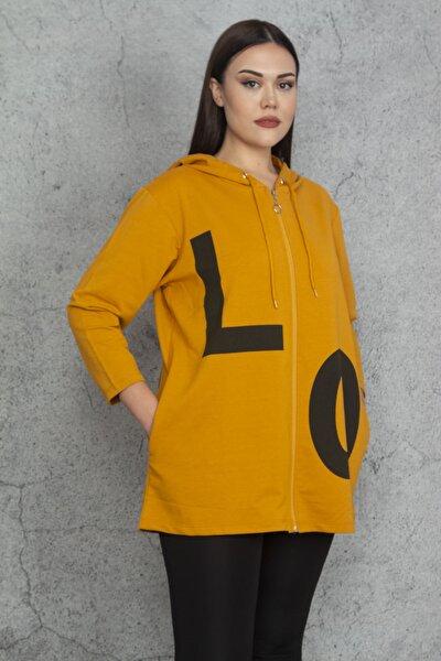 Kadın Hardal Kapüşonlu Ön Fermuarlı Baskılı Sweatshirt 65N20278