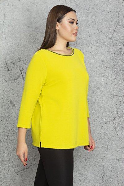 Kadın Yeşil Yaka Taşlı Kapri Kol Bluz 65N20579