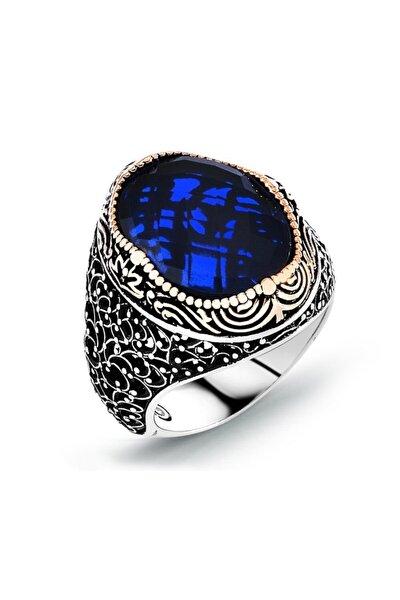 925 Ayar Gümüş Parlement Mavisi Safir Taşlı Yüzük