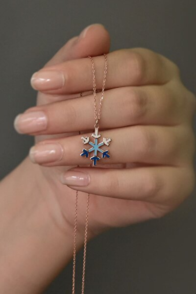 Kadın Mineli Mavi Geçişli Kar Tanesi Model 925 Ayar Gümüş Kolye