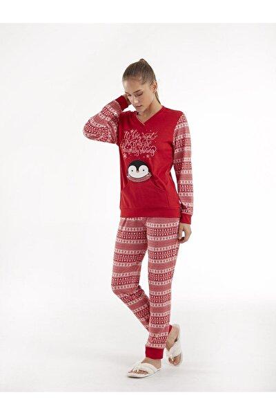 Kadın Kırmızı Pijama Takım