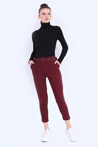 Kadın Bordo Desenli Kemerli Pantolon