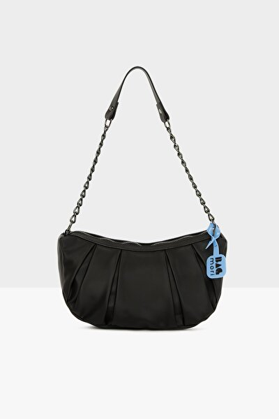 Kadın Siyah Pilili Zincirli Mini Çanta