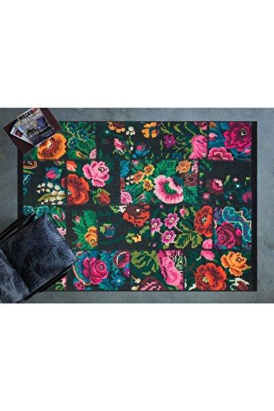 Siyah Çiçek Desenli Desenli Cornelia Kilim