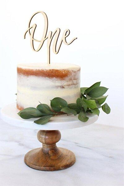 One 1 Yaş Ahşap Pasta Süsü