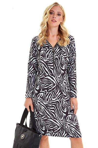 Kadın Siyah Gri Yakası Metal Fermuarlı Zebra Desen Elbise 201-2511