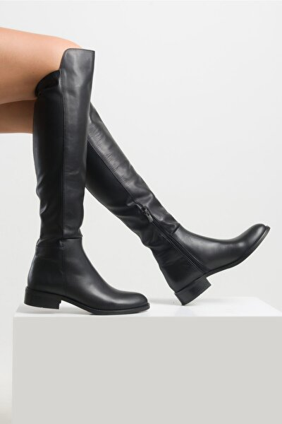 Kadın Deri Siyah Çizme