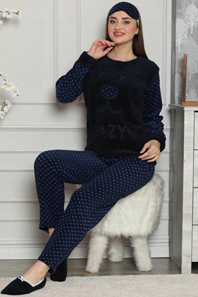 Kadın Lacivert Lacivert Lazy Desenli Kadın Peluş Pijama Takımı