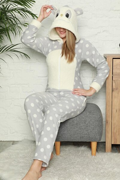 Kadın Krem Krem Büyük Puan Desenli Kadın Polar Peluş Tulum Pijama