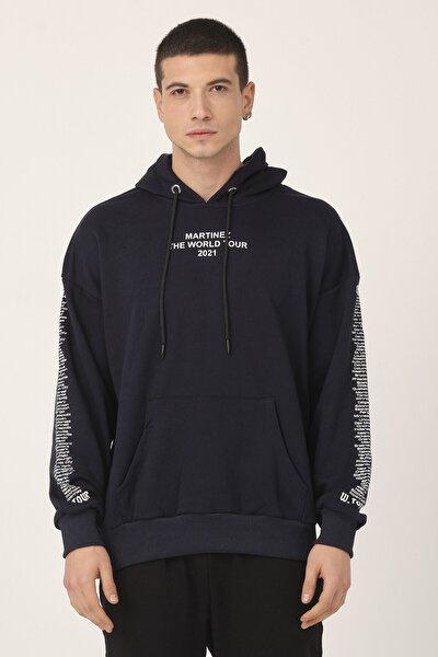 Unisex Lacivert Kapüşonlu Kanguru Cepli Oversize Sweatshirt