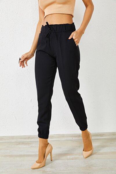 Kadın Siyah Beli Lastikli Ribana Paça Pantolon