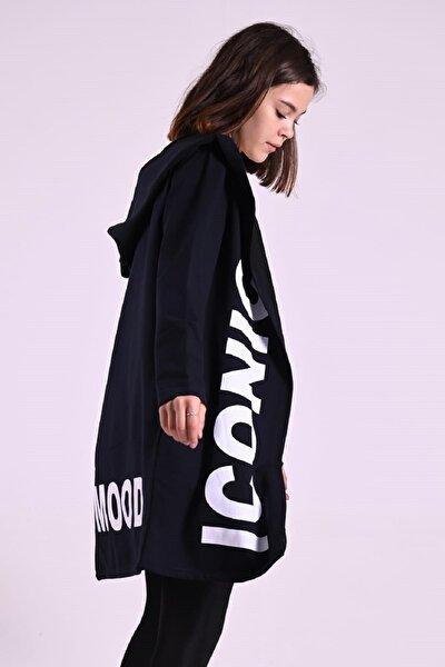 Kadın Lacivert Iconıc Baskılı Kapşonlu Ceket