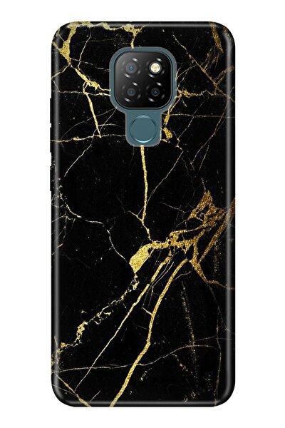 General Mobile Gm 20 Kılıf Desenli Silikon Kapak - Sarı Siyah Mermer