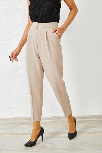 Kadın Bej Klasik Kalem Pantolon