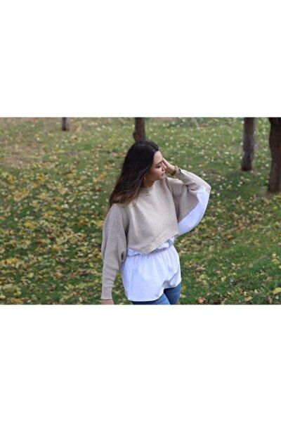 Kadın Ekru Gömlek Detaylı Triko Bluz