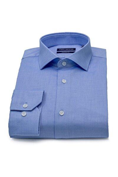 Erkek Mavi Desenli Casual Fit Lüks Pamuk Karışımlı Gömlek