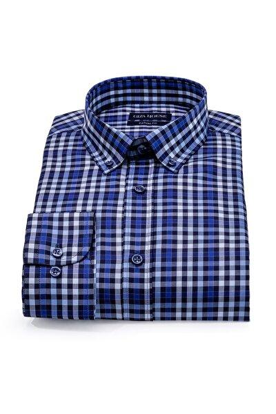 Erkek Lacivert Madison Kareli Yaka Düğmeli Casual Fit Lüks Pamuklu Premium Gömlek