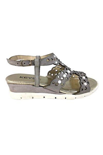 Kadın Hakiki Deri Sandalet Mat Gri