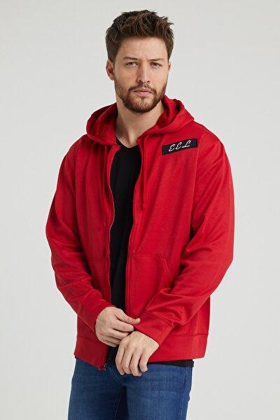 Erkek Kırmızı Renk Kapüşonlu Sweatshirt