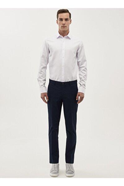 Erkek Lacivert Slim Fit Desenli Pantolon 4A0118200015