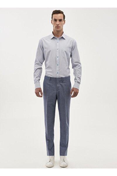 Erkek Mavi Slim Fit Desenli Klasik Pantolon 4A0118200022